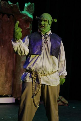PHS alumnus Daniel Walsh plays Shrek. The musical opened Feb 2020, about a month before COVID.