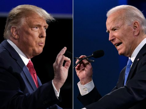 This combination of pictures created on October 22, 2020 shows US President Donald Trump (L) and Democratic Presidential candidate and former US Vice President Joe Biden during the final presidential debate at Belmont University in Nashville, Tennessee, on October 22, 2020.