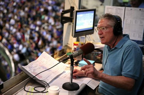 Chicago Cubs radio broadcaster Pat Hughes works a game between the Cubs and the Milwaukee Brewers at Wrigley Field in Chicago on September 15, 2016.