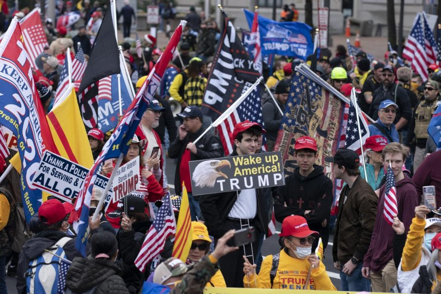 Supporters of US President Donald Trump rally at Freedom Plaza in Washington, DC, on December 12, 2020, to protest the 2020 election