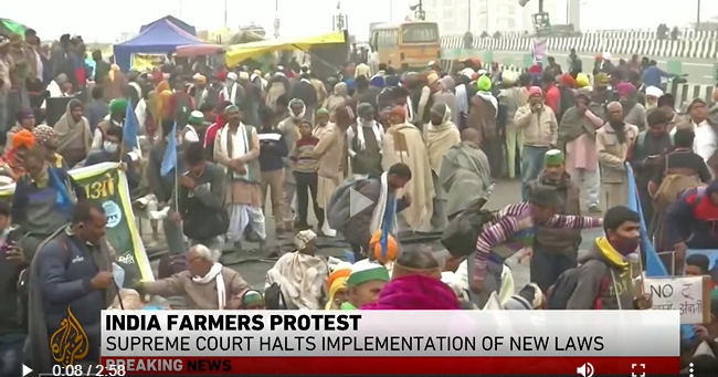 India's Supreme Court stays implementation of new farm laws.