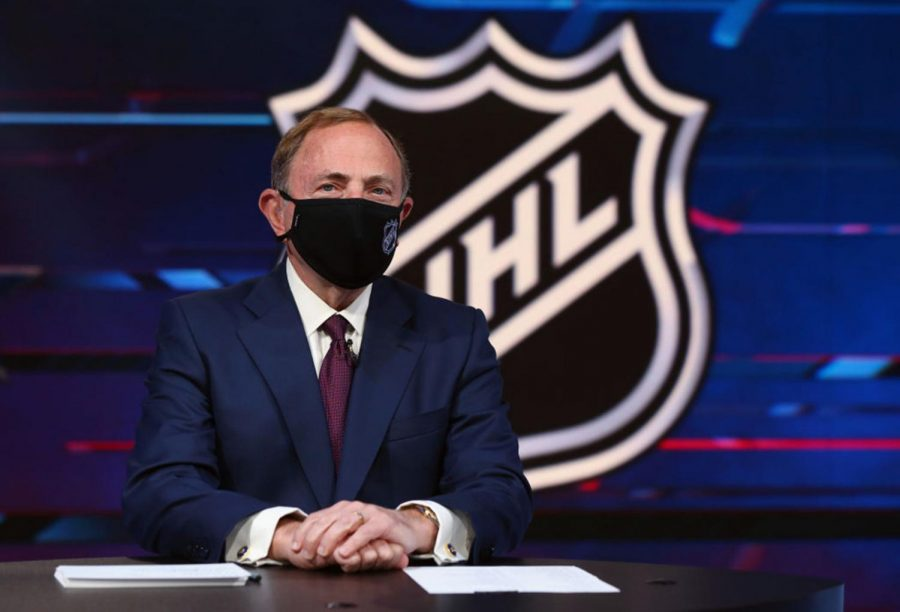 NHL+commissioner+Gary+Bettman+prepares+for+the+first+round+of+the+2020+National+Hockey+League+Draft+at+the+NHL+Network+Studio+on+Oct.+6%2C+2020+in+Secaucus%2C+New+Jersey