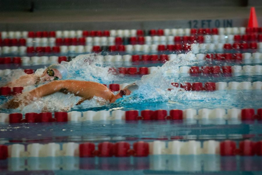 Junior Hailey Huber pulls away in the 200 freestyle.