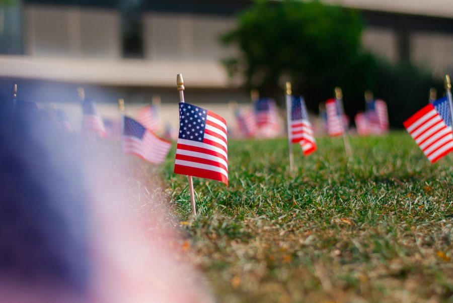 1000 flags line the lawn of PHS, each representing about 3 people who died during the events of September 11th.
