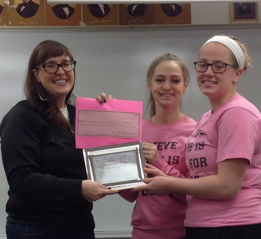 Three+pink-out+supporters+holding+up+a+check+for+%243%2C000+to+be+donated+to+research+into+cures+for+breast+cancer+