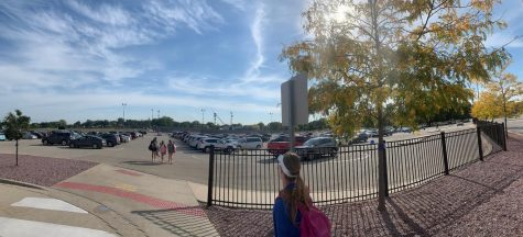 The overview of Palatine High School's front parking lot.